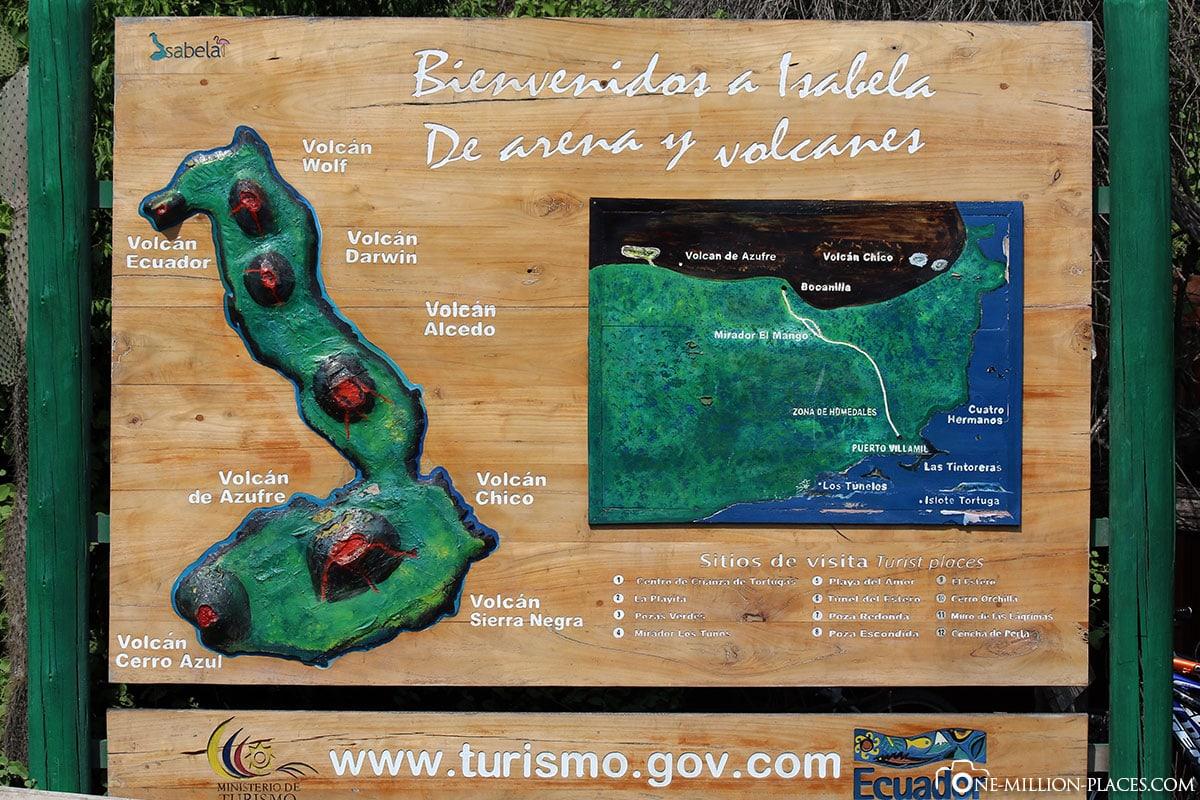 Map, Isabella Island, Galapagos, Ecuador, Tour, Wildlife, Travelreport