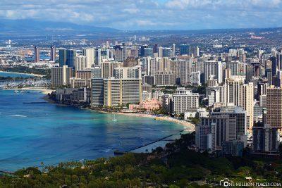 Blick auf den Waikiki Beach