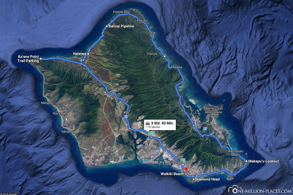 Tagesroute, Oahu, Mietwagen, Inselrundfahrt, Hawaii, Reisebericht