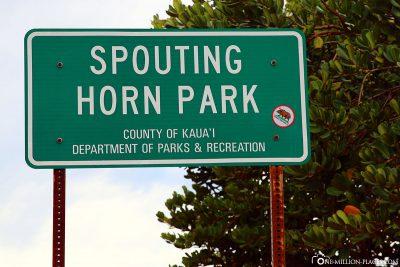 The entrance to Spouting Horn Beach Park