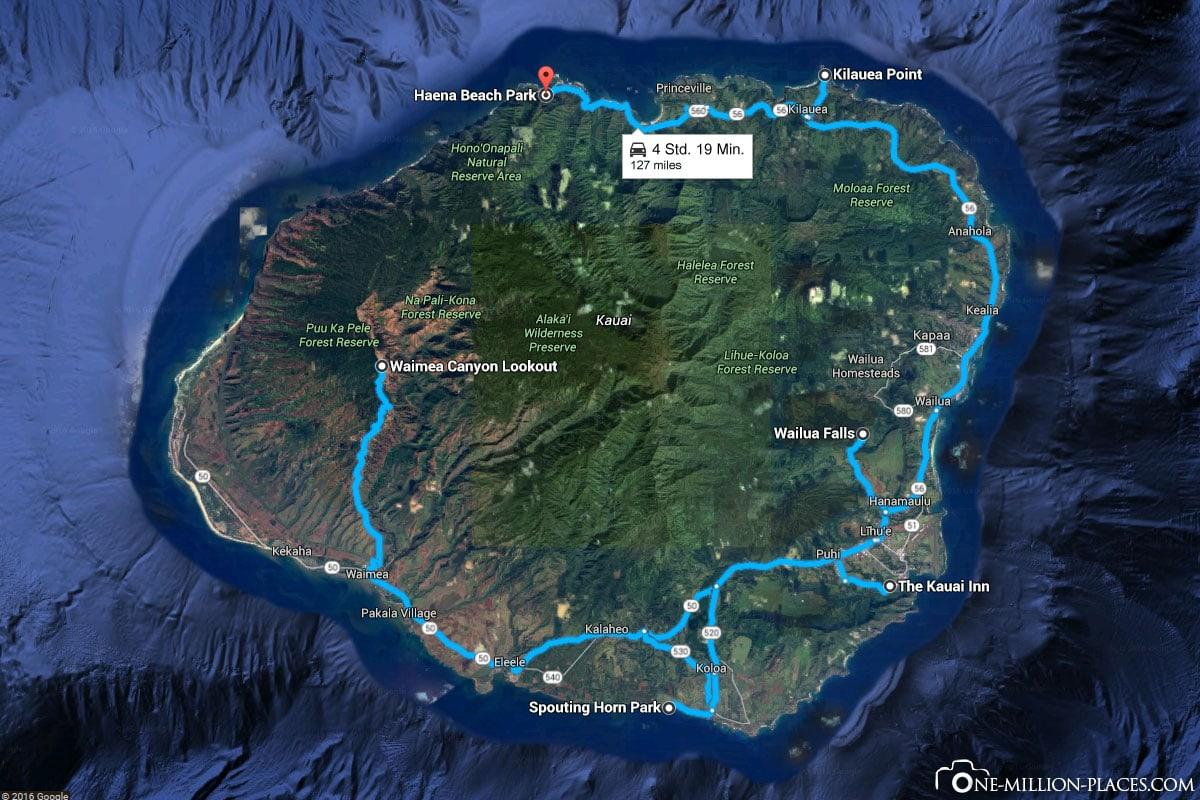Route, Kauai, Hawaii, USA, Inselrundfahrt, Auf eigene Faust, Reisebericht