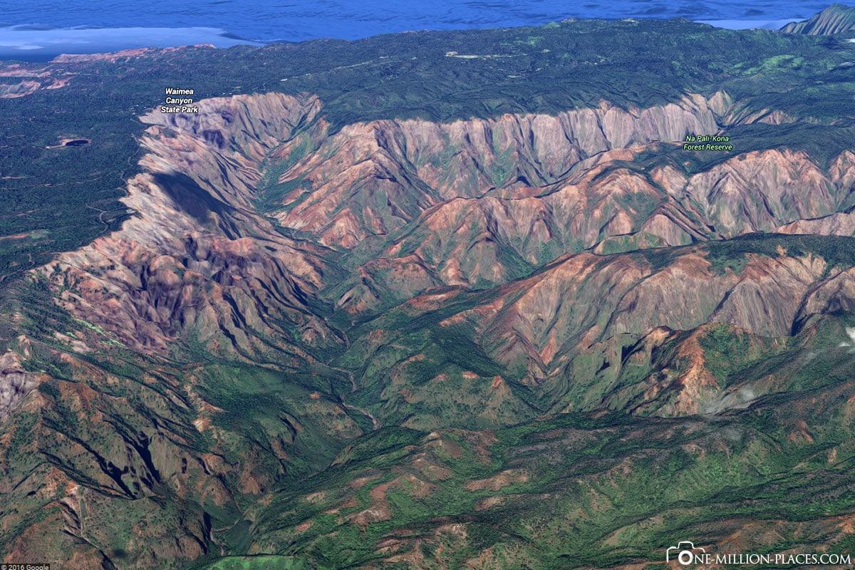 Google Earth, Waimea Canyon, Kauai, Hawaii, USA, Inselrundfahrt, Auf eigene Faust, Reisebericht