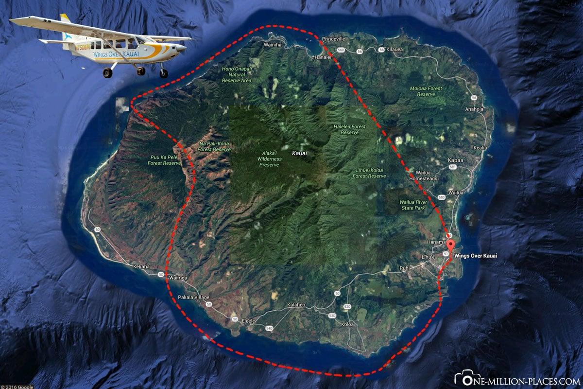 Route, Rundflug, Kauai, Wings over Kauai, Hawaii, USA, Reisebericht