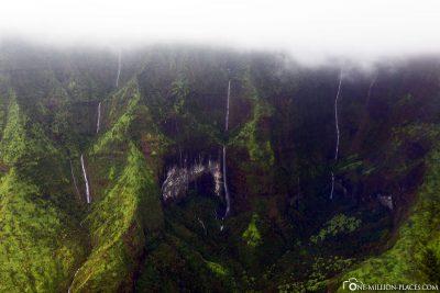 Waterfalls on the Napali Coast