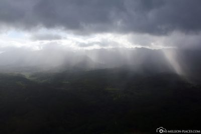 The sun comes through the clouds