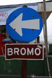 Wegweiser zum Mount Bromo