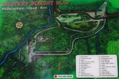 A map of the Monkey Forest in Ubud