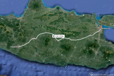 The train line from Yogyakarta to Surabaya