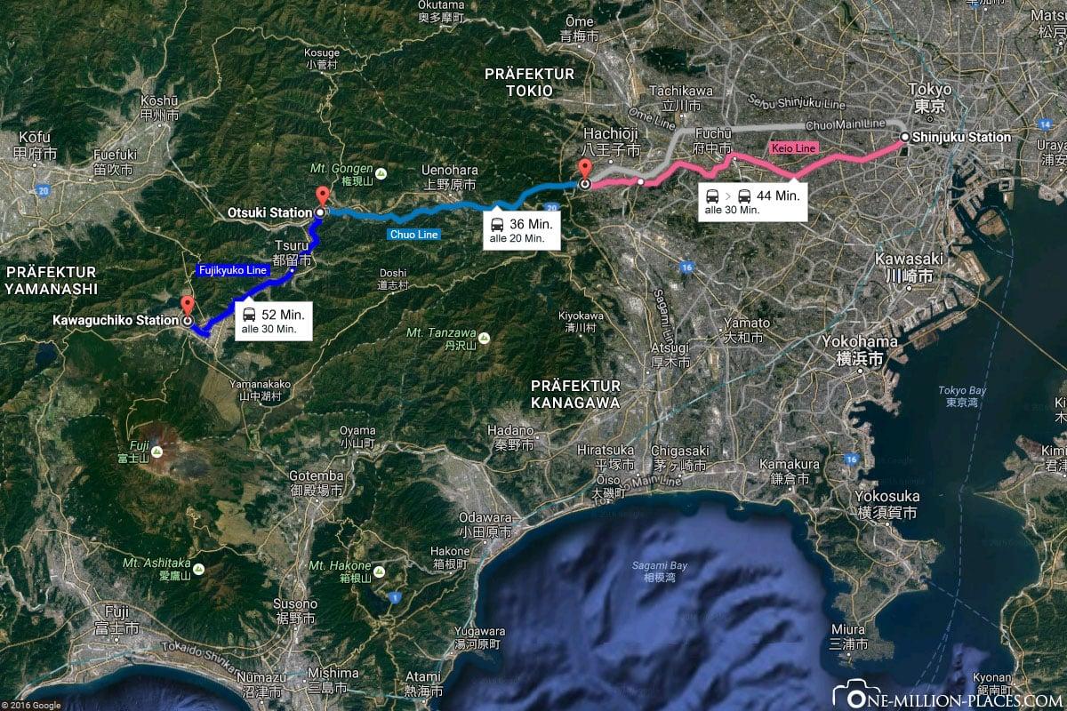 Bahnverbindung, Arakurayama Sengen Park, Chureito Pagoda, Japan, Sehenswürdigkeiten, Auf eigene Faust, Reisebericht
