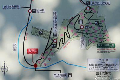 Eine Karte des Arakurayama Sengen Park