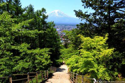 Die Treppen zur Chureito Pagoda