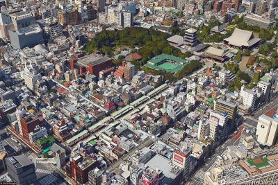 The Asakusa district with the Sensoji Temple
