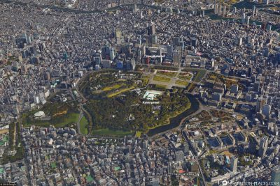 The Imperial Palace in Tokyo in Google Earth