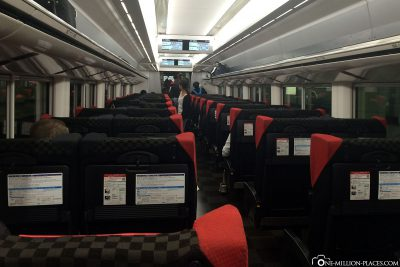 The compartment of the Narita Express train