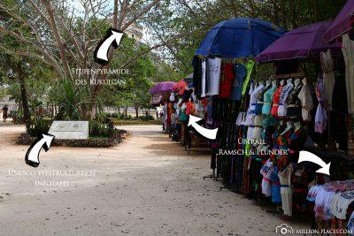 Überall Verkaufsstände innerhalb der Mayastätte