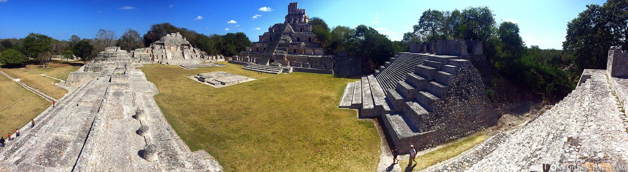 Panoramic view, Gran Acropolis Edzna, Mexico, Yucatan, travelogue