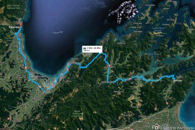 Die Strecke von Picton nach Kaiteriteri