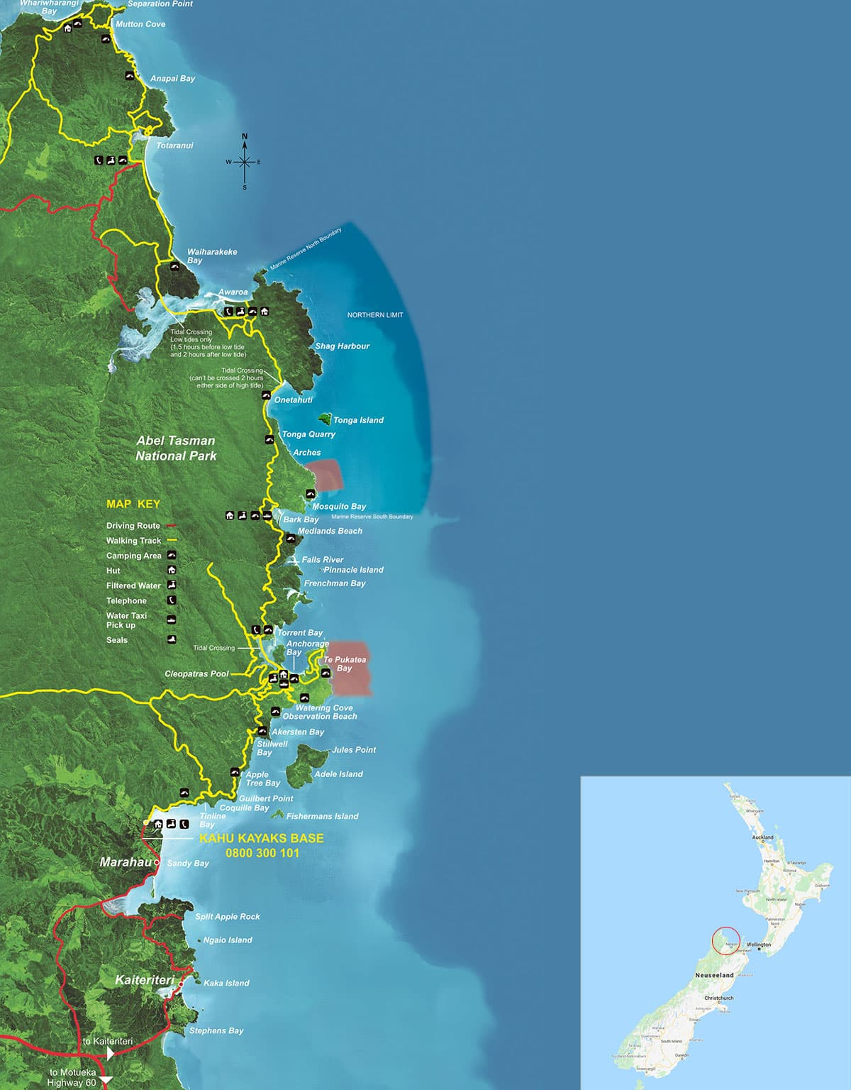 Karte, Ausflug, Abel Tasman Nationalpark, Neuseeland, Nordinsel, Auf eigene Faust, Reisebericht