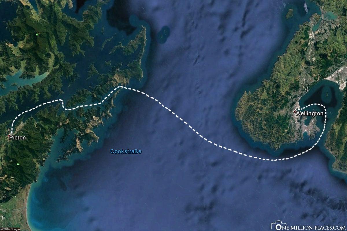 Karte, Route, Fähre, Neuseeland, Nordinsel zur Südinsel, Bluebridge Ferry, Auf eigene Faust, Reisebericht