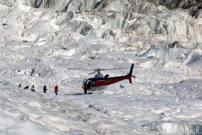 Landing on the glacier