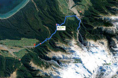 The path from Franz Josef to Fox Glacier Village