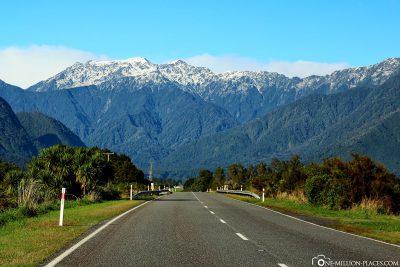 Fahrt durch die Neuseeländischen Alpen