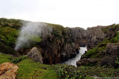Blowhole at the Pancake Rocks