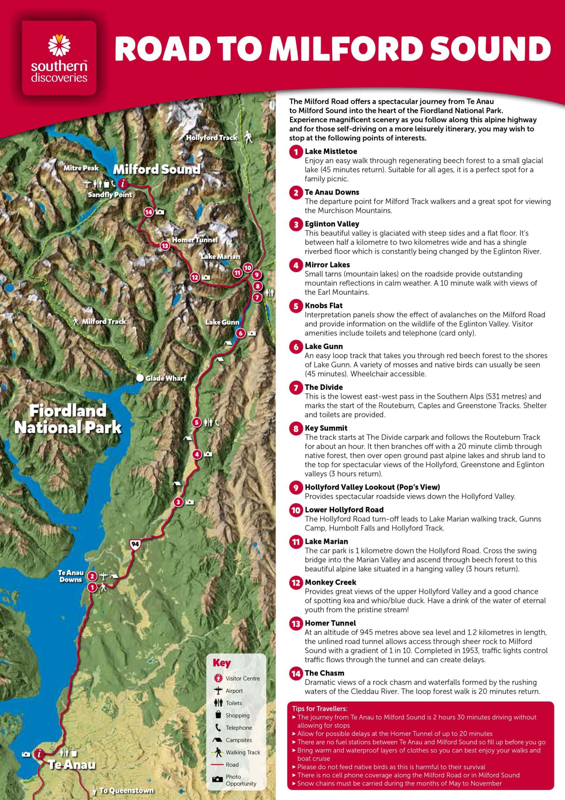 Karte, Road to Milford Sound, Fotospots, Neuseeland, Südinsel, Auf eigene Faust, Reisebericht