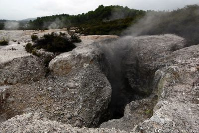 Steaming rock crevices