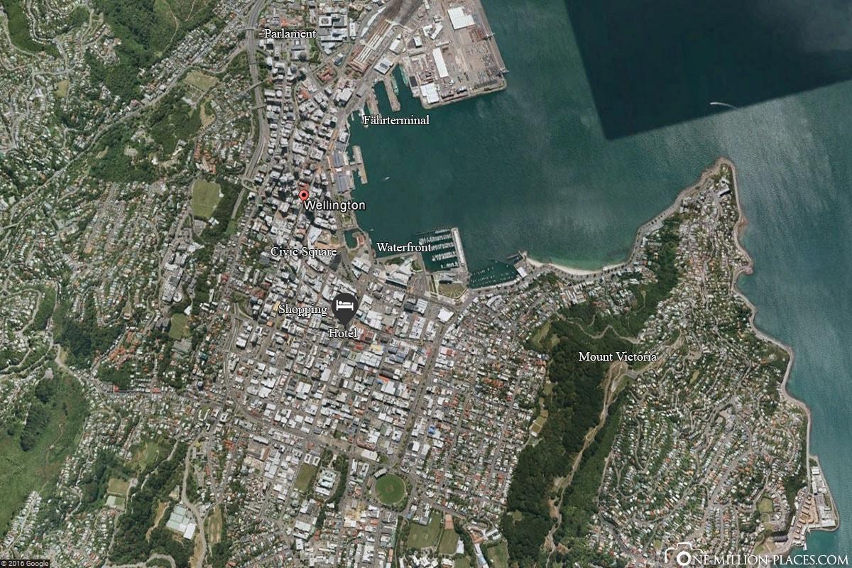 Map, Wellington, New Zealand, North Island, On Your Own, Travelreport