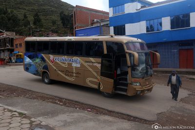 Start of the bus tour from La Paz to Puno