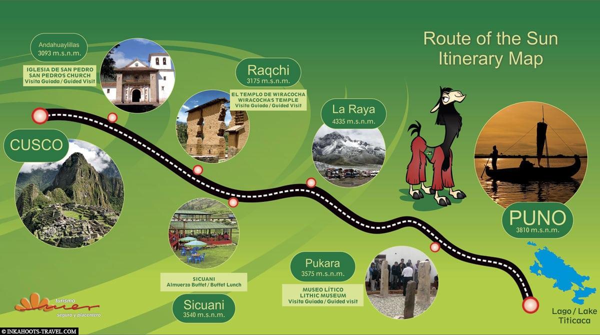 Karte, Route, Bustour, Puno nach Cusco, Peru, Route of the Sun, Südamerika, Reisebericht