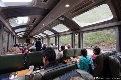 Der Vistadome Zug nach Aguas Calientes