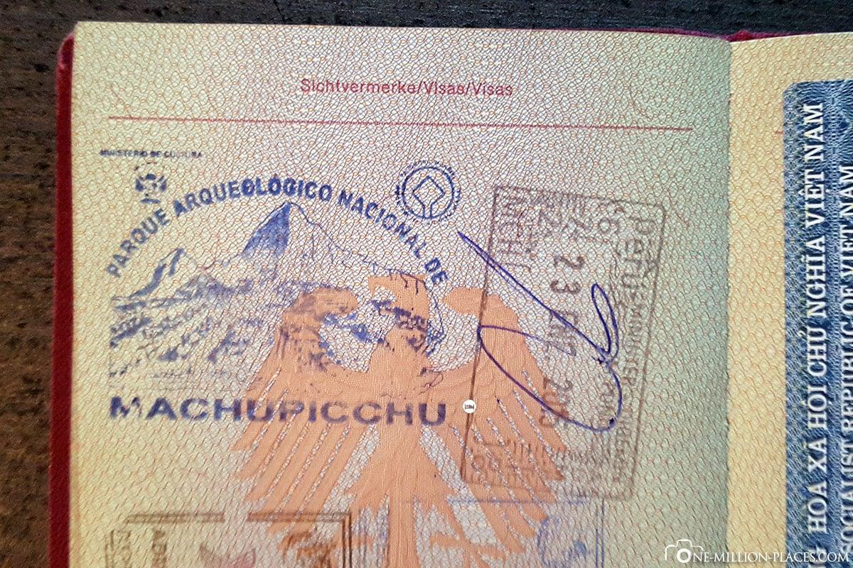 Stamp in Passport, Machu Picchu, On Your Own, Aguas Calientes, Inca City, Ruins, UNESCO World Heritage, Peru, South America, Travelreport