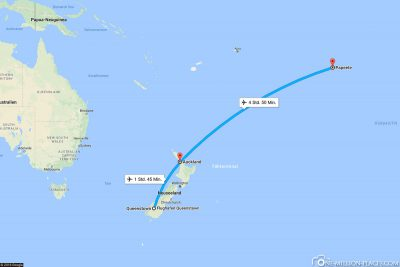 Our current flight route from New Zealand to Tahiti