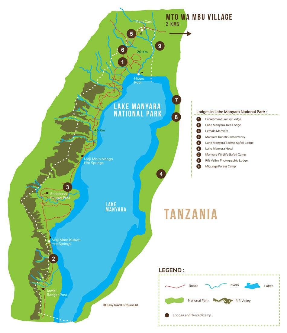 Karte, Plan, Lake Manyara Nationalpark, Safari, Tansania, Afrika, Tour, Reisebericht