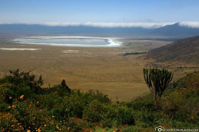View into the crater with Lake Magadi