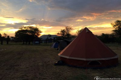 The sunset at the camp