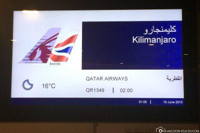 Unser Flug nach Kilimandscharo