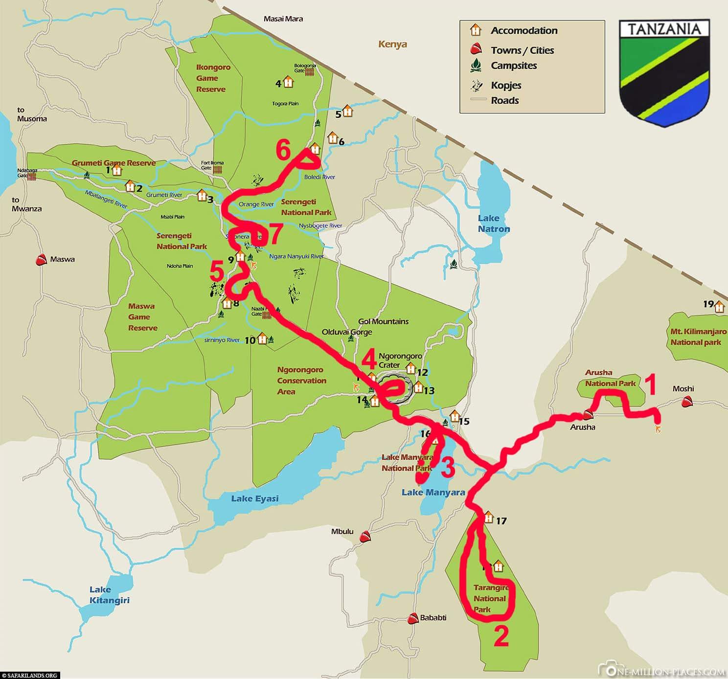 Route, Plan, Paradies Safari, Tour, 7 Tage, Tansania, Reisebericht