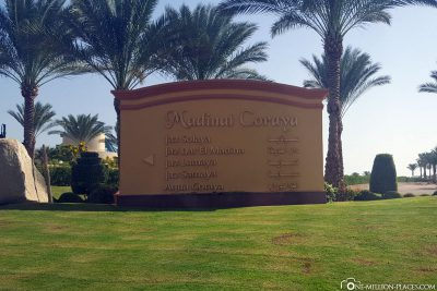 The entrance to the Madinat Coraya hotel complex