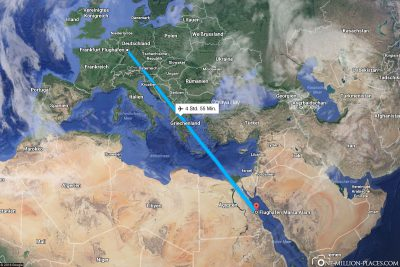 The flight route from Frankfurt to Marsa Alam