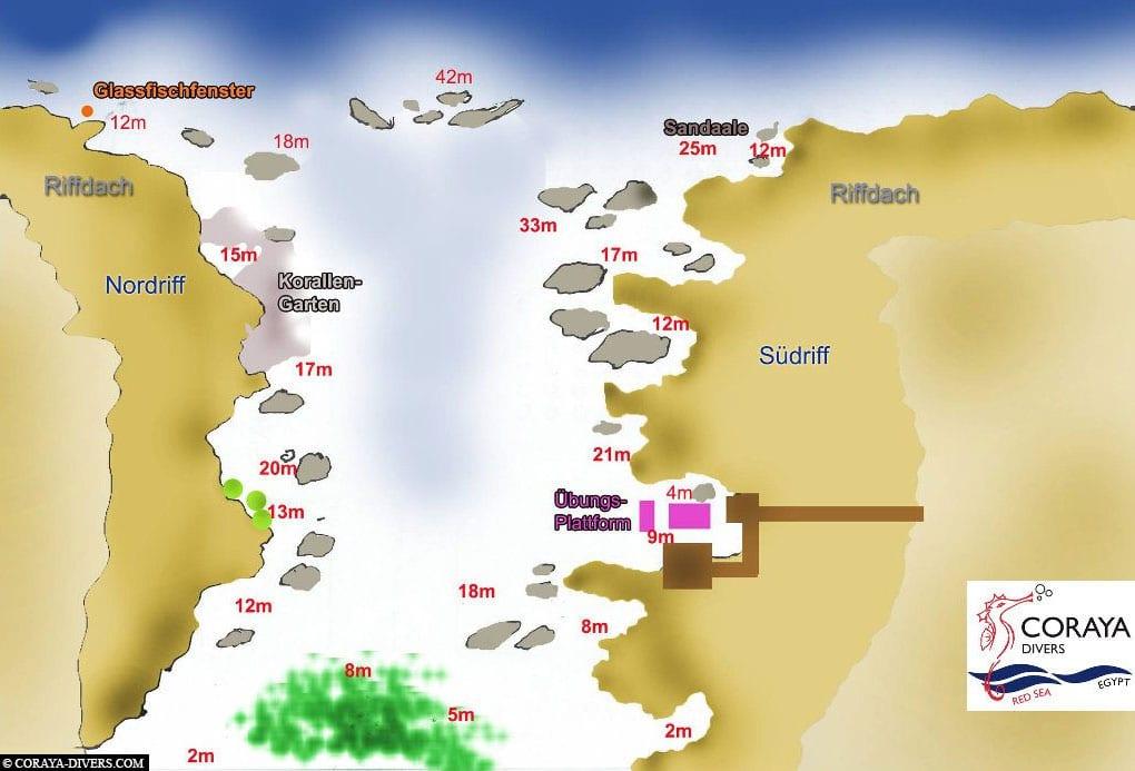 Tauchkarte der Coraya Bay, Coryaya Divers, Tauchschule, Marsa Alam, Ägypten, Reisebericht