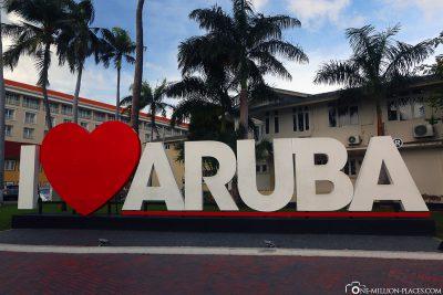 The I love Aruba lettering