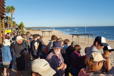 The crowds at the visitor centre