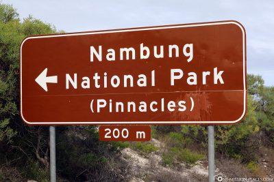 Wegweiser zum Nambung Nationalpark