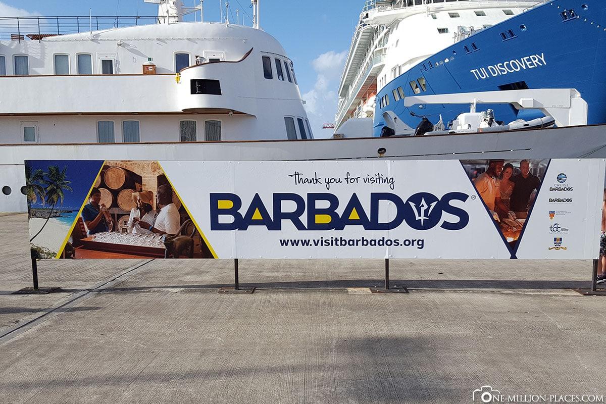 Schild, Willkommen, Tauchschule Roger's Shack; Barbados, Karibik, AIDA Kreuzfahrt, Tauchbericht, Reisebericht