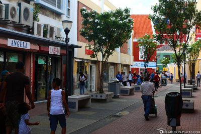 The colourful streets of the city centre in Punda