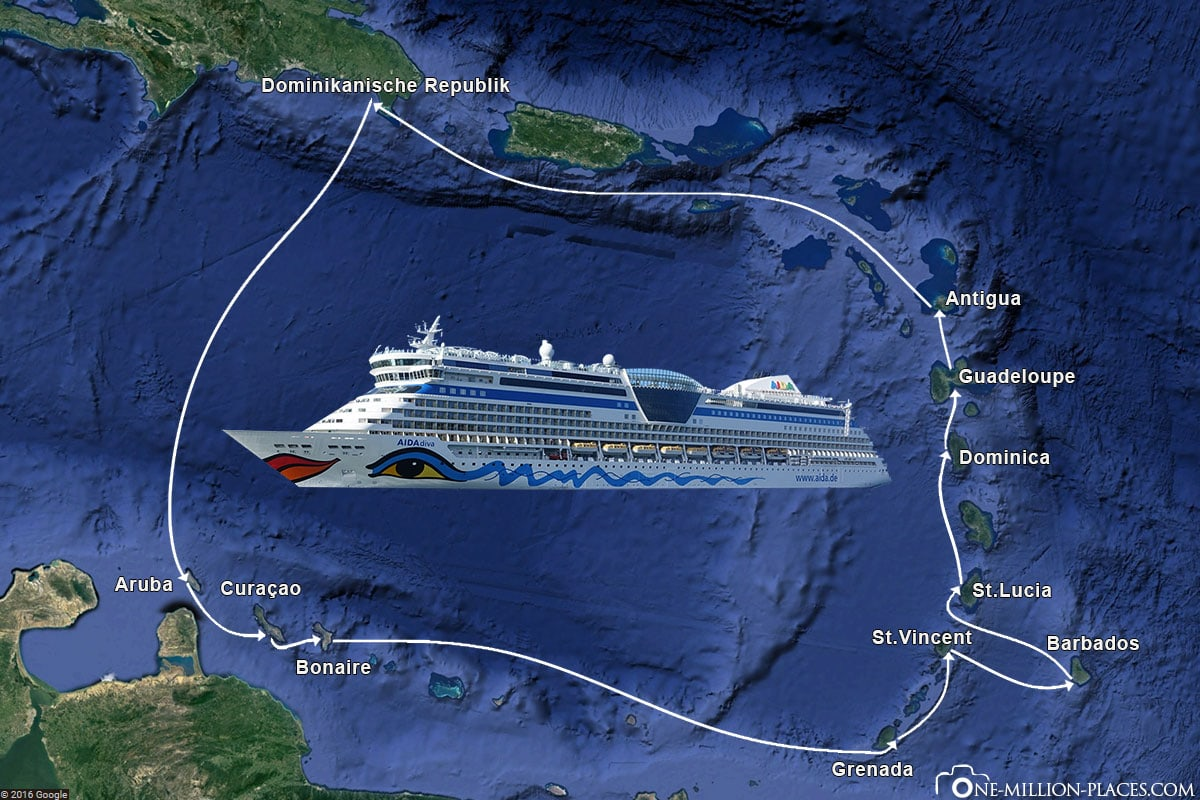 Caribbean Islands 1, AIDA diva, Itinerary, Map, Itinerary