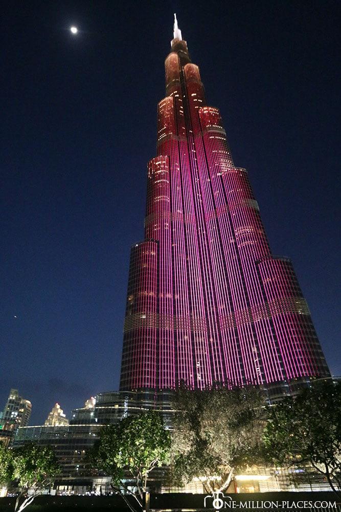 Night, Burj Khalifa, Dubai, Attractions, United Arab Emirates, TravelReport